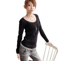 2014 spring round neck T-shirt medium-long plus size basic long-sleeve shirt plus size women all-match