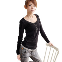 2014 spring round neck T-shirt medium-long plus size basic long-sleeve shirt plus size women all-match
