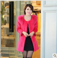 2014 thickening fur rabbit fur outerwear fox fur medium-long overcoat Women outerwear female free shipping