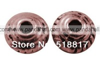 Tibetan Silver Bead Spacers,  Lead Free and Cadmium Free & Nickel Free,  Cone,  Red Copper,  5x3mm