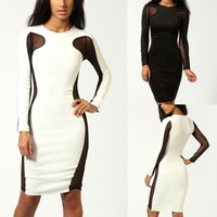 Sexy Women Bandage Dress Mesh Cut Out Long Sleeve Party Clubwear Midi Bodycon Dress