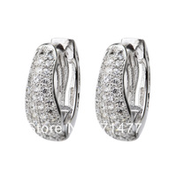 GNE0771 Wholesale 14x14x4.5mm Hoop Earrings Fashion Jewelry 925 Sterling silver micro pave CZ Earrings for women