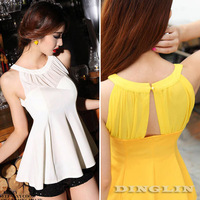 Fashion Korean Women Clothing Sleeveless Summer Casual Slim Fit Chiffon Blouse Skater Party Peplum Top Shirt Free Shipping 1289