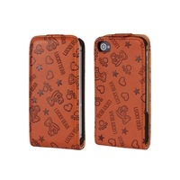Big Sale !!! Bear Leather Flip Case for iPhone 4 4S Free Shipping