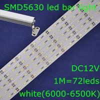 20sets/lot, SMD5630 white 6000-6500K DC12V 72leds 1m led rigid bar strip light+waterproof U shape aluminum slot+metal cap+screw