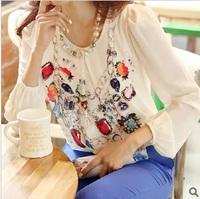2014 spring and summer autumn print chiffon blouse shirt o-neck long-sleeve slim female chiffon shirt female