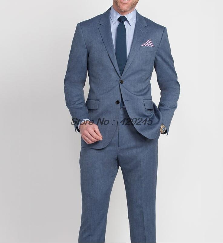 Mens Blue Suit Wedding Suit Pants Men Steel Blue