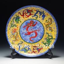 Cerâmica e esmalte grátis frete chinês archaize placas decorativas dragão padrão qianlong marcado 036(China (Mainland))