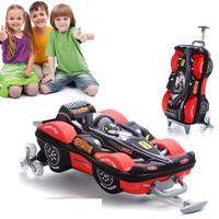 3D F1 Car Model Trolley School Bag for Boys Mochilas Kids Cartoon Three Dimensional Children Trolley Luggage on Wheels Blue Red