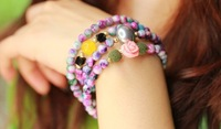2014 FREE SHIPPING FASHION WOMEN JEWELRY,fine purple/yellow natural stone pearl multi layer flower bracelet(MIN.ORDER$15)