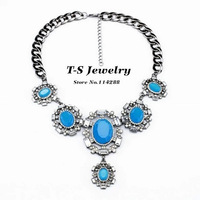 2014 Luxury New Blue Acrylic Crystal Queen Pendant Necklace Women's Elegant Dress Party Choker Necklace Statement  Jewelry