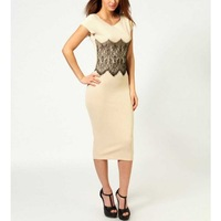 New Elegant Women Bodycon Dress Lace Waistband Cap Sleeve Midi One-piece Bandage Pencil Dress Cream