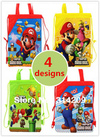 Free Shipping! Mixed 4 Designs Mario Backpack Bags, Kids Cartoon Drawstring Backpack Bag, Children Best Party Gift, 4pcs/lot