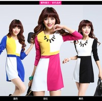 6544 2014 new Korean version of Slim mixed colors hit the color long sleeve dress temperament was thin package hip