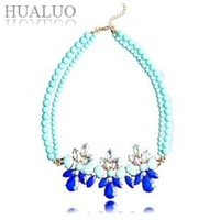 2014 New Fashion Elegant Candy Color Light Blue Double Bead Flower Statement  Acrylic Choker Necklace For Women N909