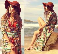 New 2014 Fashion Floral Printed Women Beach Dress/Summer Spring Cardigan Chiffon Dress For Women/Multi-color Women Clothing SML