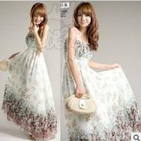 free shipping 2014 summer new bohemian Korean yards ladies temperament chiffon dress maxi Dress