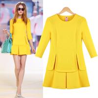 2014 spring plus size clothing slim elegant fashion basic one-piece dress