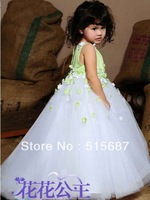 flower girl dresses sale!2014 summer girl Pale green appliques Tailing flower girl dress for wedding party dresses 2-12T