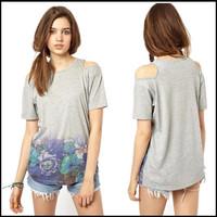 2014 Summer New Floral Print Cut off Shoulder Cotton T-shirt