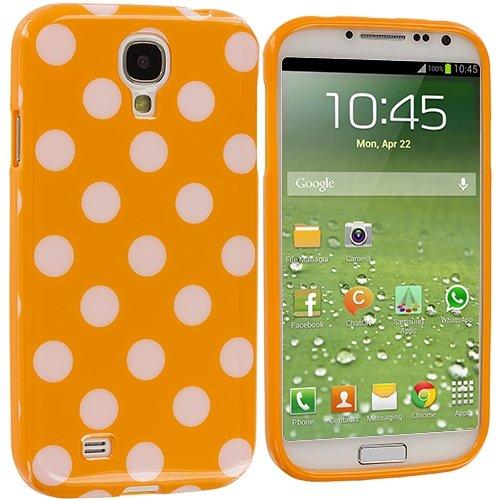 Orange/White Polka Dot Flex Gel TPU Case Cover for Samsung Galaxy S4 IV i9500(China (Mainland))