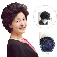 Free Shipping(min. $20) 50G Middle aged Women's Short  Wavy Clip-in Hair Extension Hairpiece more dense