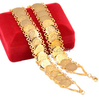 Wholesale 2pcs Mens Womens Unisex 22k Gold Filled Bracelet Bangles Cool Coin Style Fashion Jewelry