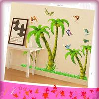 Free Shipping Coconut Tree Sitting Room Bedroom Adornment  Wall Stick Sofa TV Setting Wall Decor