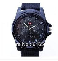 Drop free shipping  Pilot Fabric Strap Sports Men Men's Swiss Military Watch Quartz Wrist watches