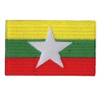 "2.5"",80%,21,100pcs/bag,MOQ50pcs,Myanmar,embroidery patch,flag,merrow or flat broder,iron on backing,free shipping by Post"