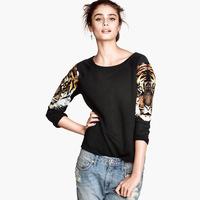 tiger print sleeve sweatshirt three quarter sleeve women's 2014 new spring pullovers