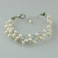 Natural white pearl bracelet crystal female multi-layer bracelet