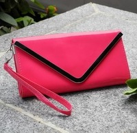 Candy color patent leather V edge day clutchbag one shoulder bag envelope messenger bag with wrist strap and shoulder belt~Free