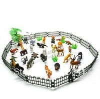 Free shipping 32pcs/set Wild Animal Model Toys Children Play house Simulation Games Toys with Barrier
