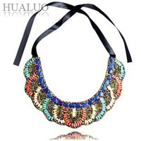 2014 New Design Vintage Elegant Bohemia Statement Multicolor Beads Ribbon Collar Bib Necklace Choker Necklace For Women N721
