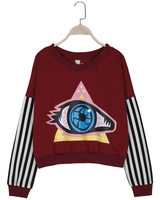 Exo HARAJUKU high waist short design long-sleeve basic big eyes sweatshirt female spring and autumn outerwear