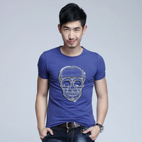 2013 summer male paillette embroidered skull slim t-shirt male short-sleeve t shirt