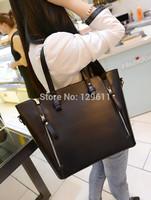 free shipping 2014  lychee women's handbag black big bags all-match fashion messenger bag women handbag genuine leather brand