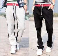 2014 New Top Fasion Straight Active Mid Cotton Elastic Waist Spring Men's Sports Pants Sweat Plus Size M-xxl Hit Color Cb