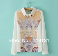 Spring new Korean long-sleeved shirt lapel print chiffon blouse shirt blouses