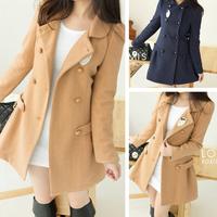 2014 new women's windbreaker jacket winter style women's college Slim thin woolen coat jacket and long sections