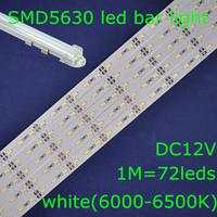 20sets/lot,SMD5630 white 6000-6500K DC12V 72leds 1m led rigid bar strip light+waterproof U shape aluminum slot+transparent cover