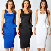 Fashion Ladies Sleeveless Slim Waist Flouncing Party Empire Waist Cocktail Knee-Length Dress