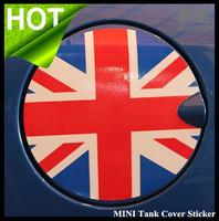 MINI gas tank cover sticker garland, mini cooper S R56 Union jack checker flag, Mini emblem gas tank cap sticker