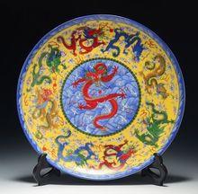 Cerâmica artesanato chinês archaize placas decorativas dragão padrão qianlong marcado 021(China (Mainland))