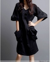 Free Shipping new fat MM summer day double casual dress was thin women