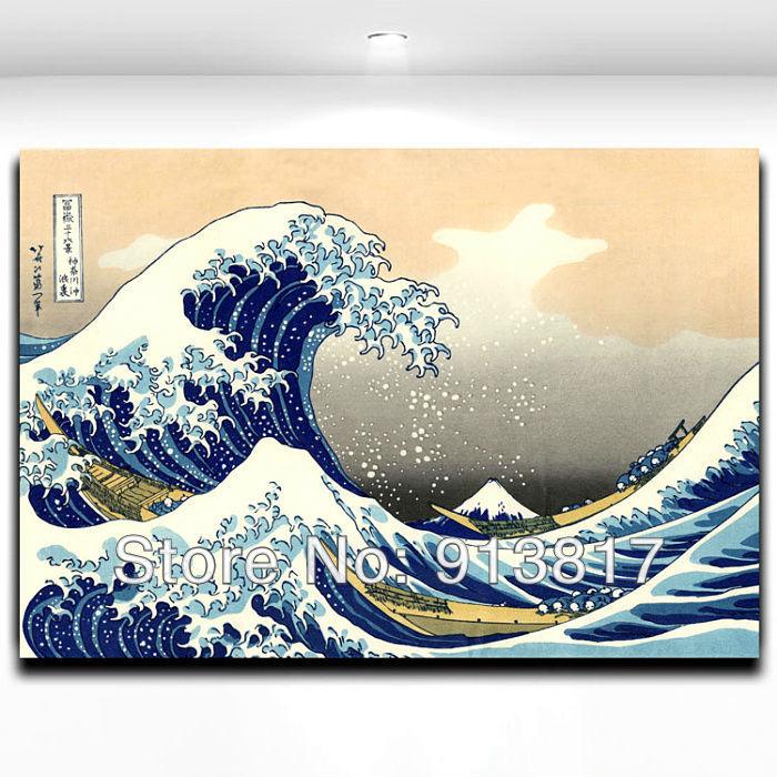 Japanese Ukiyo-e Style Painting Works Kanagawa surfing Figure Printed Art Home Decoration Frameless Paintings Core Free Shipping(China (Mainland))