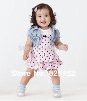 New Arriving Baby Girls Summer Clothing Sets : Cake Dress+Denim Vest 2 Pcs/Set For 4-24M Kids Wear Cotton Clothes Free Shipping