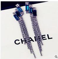 Retro luxury blue gem long tassel earrings