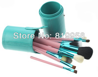 New Arrival!! 12pcs Goat Hair Make Up Brush Kits  With Green Round Case